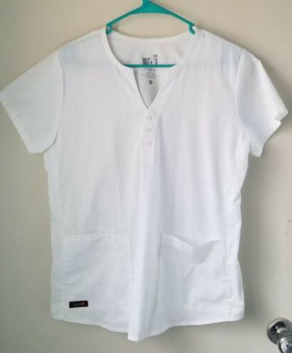 barco scrub top white super soft stretch medium nwot