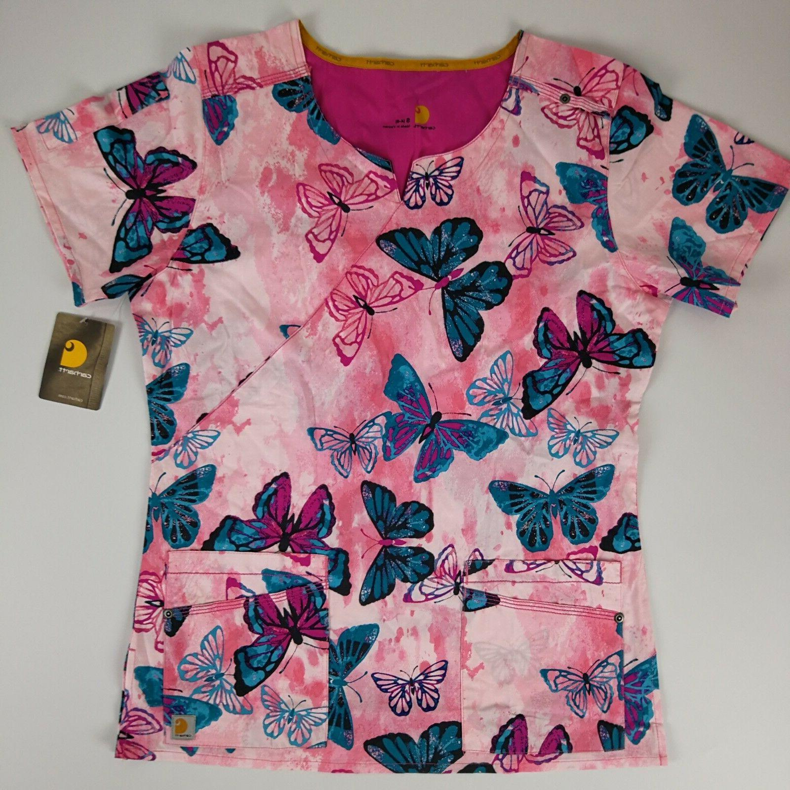 Carhartt Scrub Top Women's Small Pink Butterfly Stretch Nurs