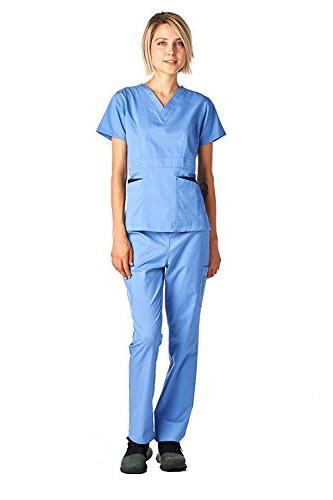 Medical Scrubs Set Stretch Ceil Blue M