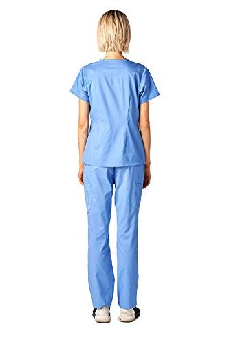 Medical Set Stretch Contrast Ceil Blue