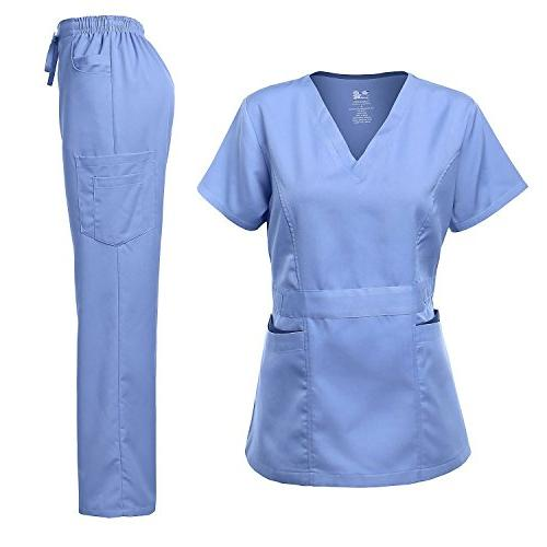 scrubs set stretch contrast pocket