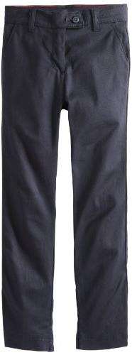 Dickies Big Girls' Stretch Slim Straight Pant, Dark Navy, 7