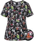 Koi Tokidoki Luna Adios Halloween Stretch Scrub Top NEW NWT