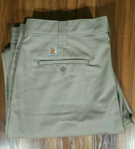 Carhartt Work Mens Pants Khaki B290 36x32 Uniform NEW