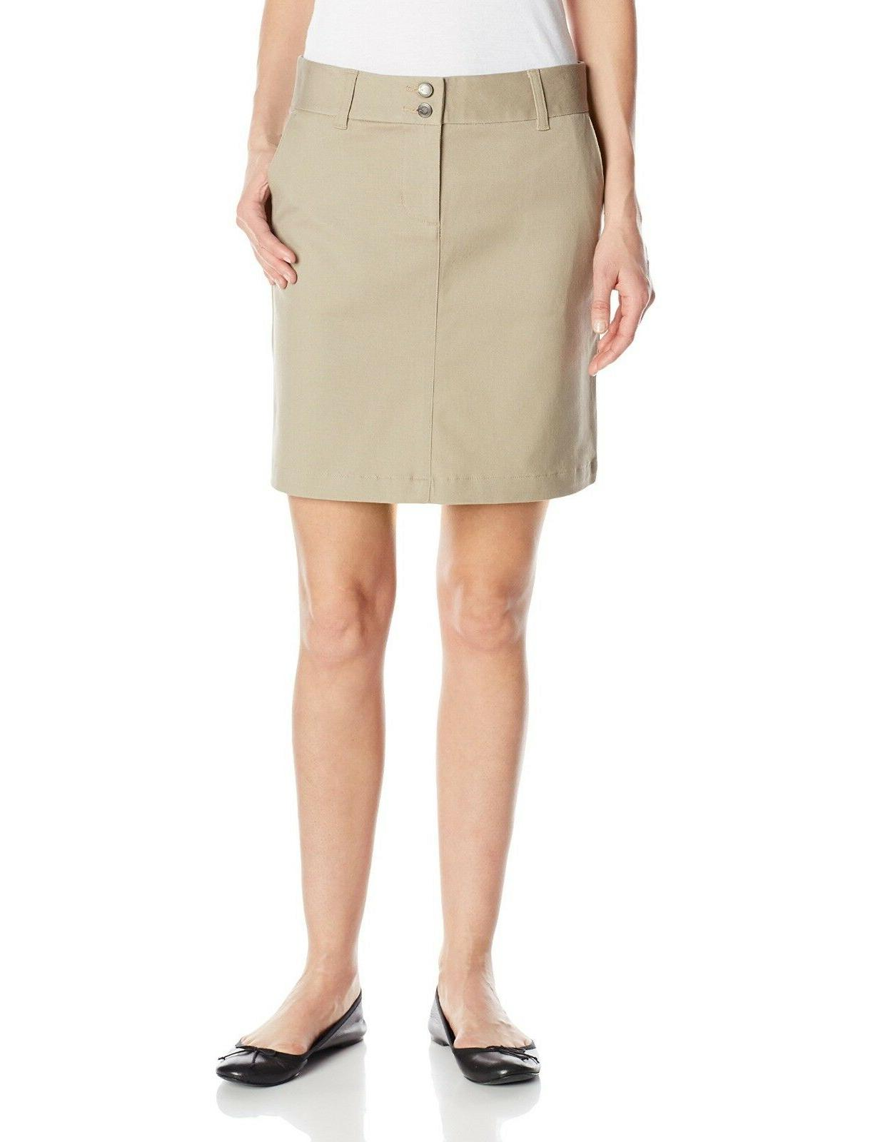 LEE Uniforms Juniors Classic Stretch School Skirt Khaki Size