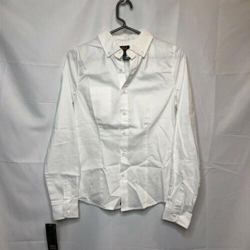 uniforms juniors ls stretch oxford blouse medium