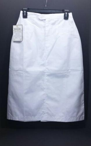 Adar Uniforms  White Cotton Polyester Mid Calf Skirt.  Size
