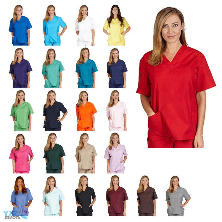unisex men women v neck scrub top