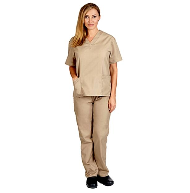 unisex scrub set top pants v neck