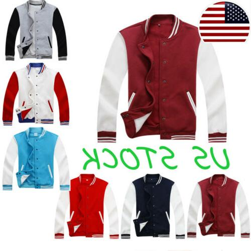 Unisex Women Mens Varsity Baseball Jacket Student Uniform Sw