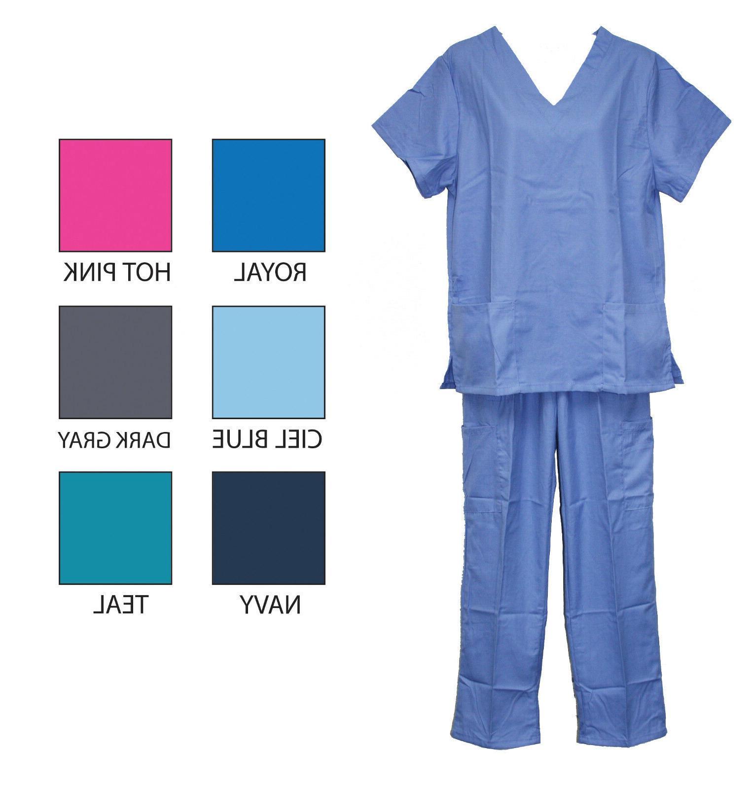 Unisex Women's Men's Medical Uniform Scrubs Sets Tops Pants