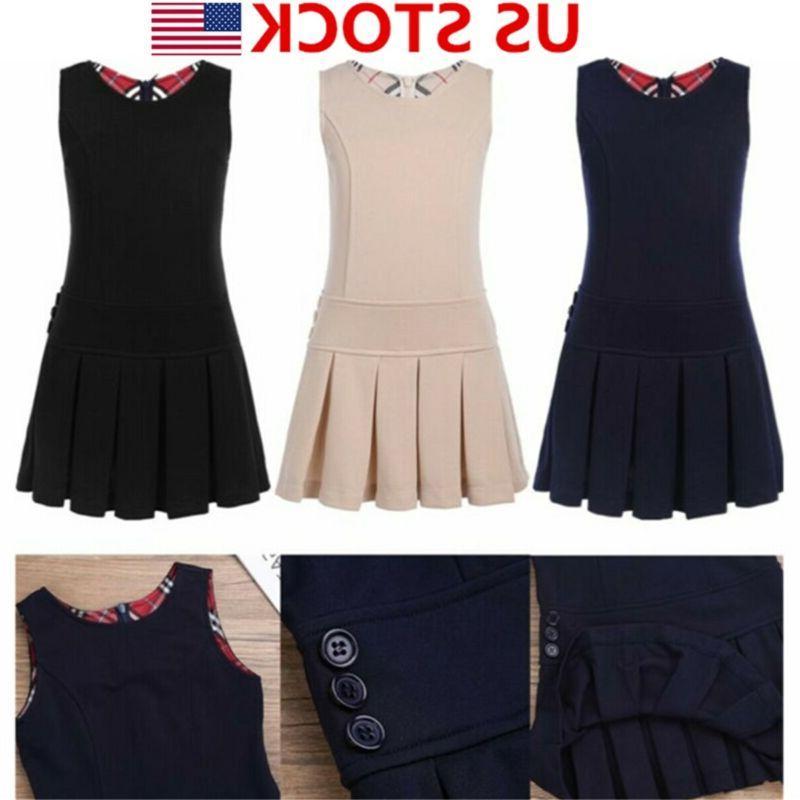 US Girls Uniform Pleated School Wear Dress Jumper Kids Sleev