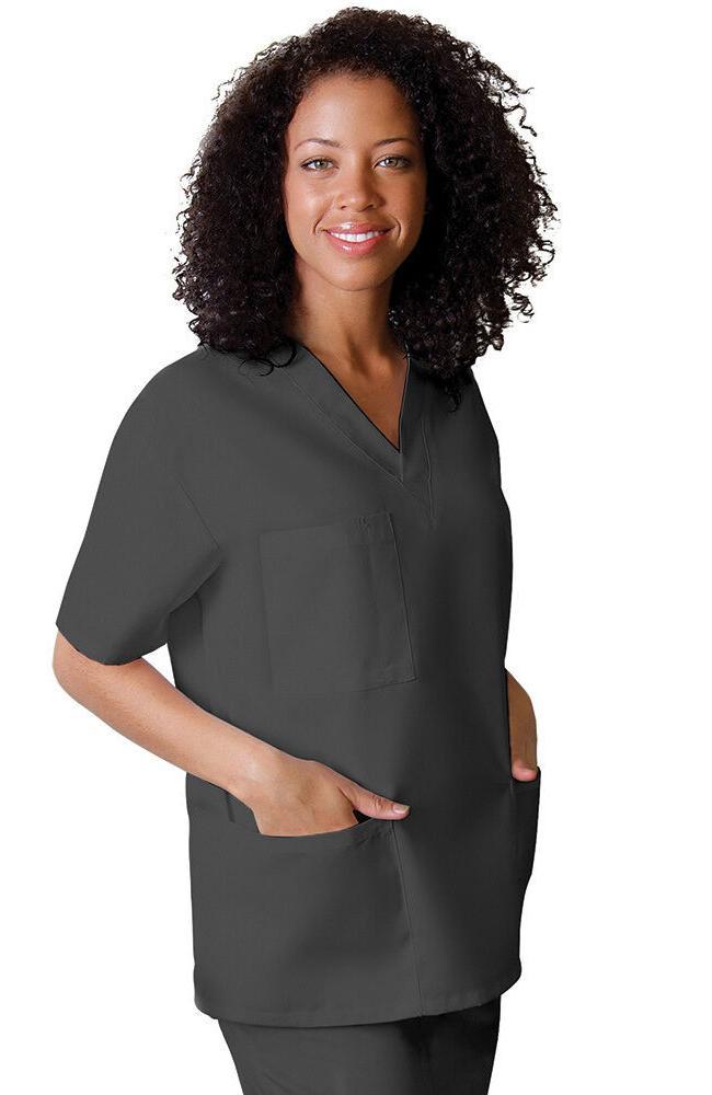 V Neck 3 Pocket Scrub Medium Top Adar Uniform Pewter Solid N