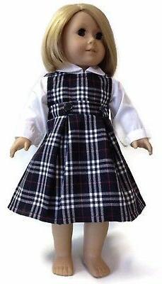 "White Blouse & Jumper School Uniform made for 18"" American G"