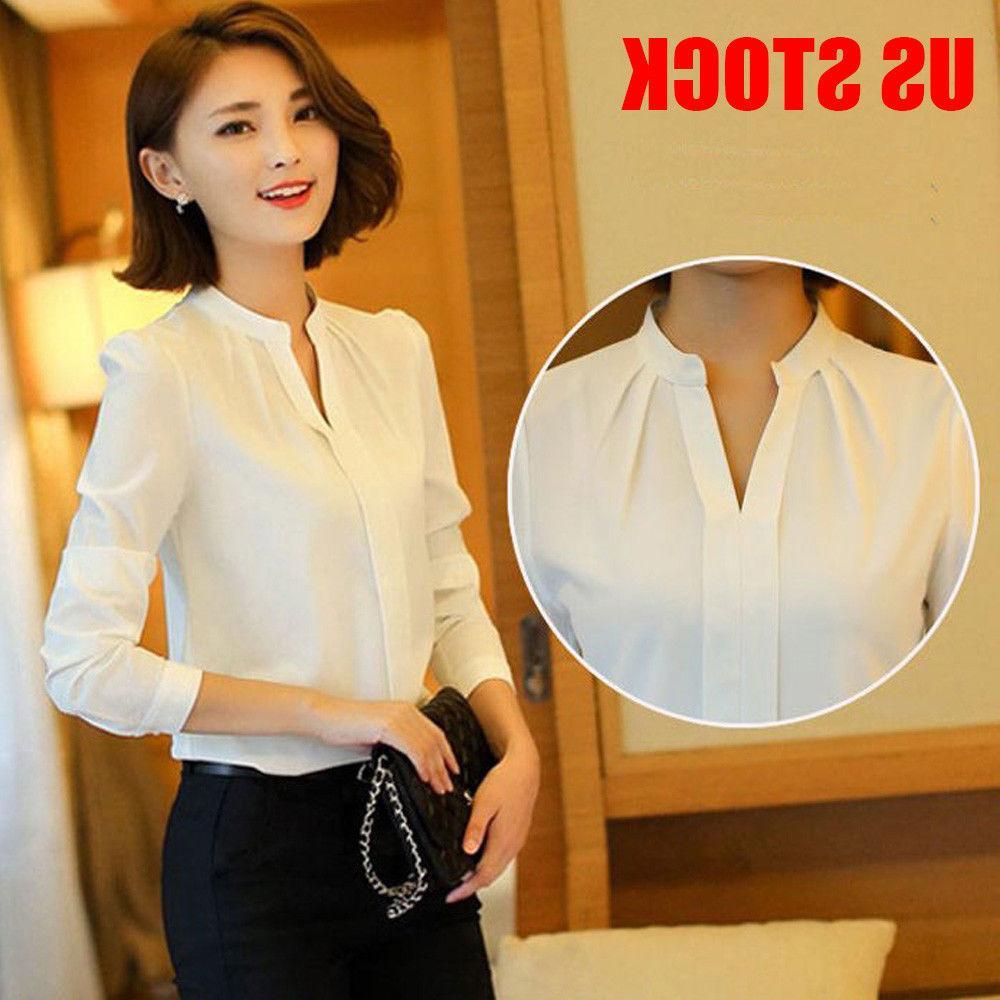 Women Fashion Formal Cotton White OL Work Uniform Tops S-XXL