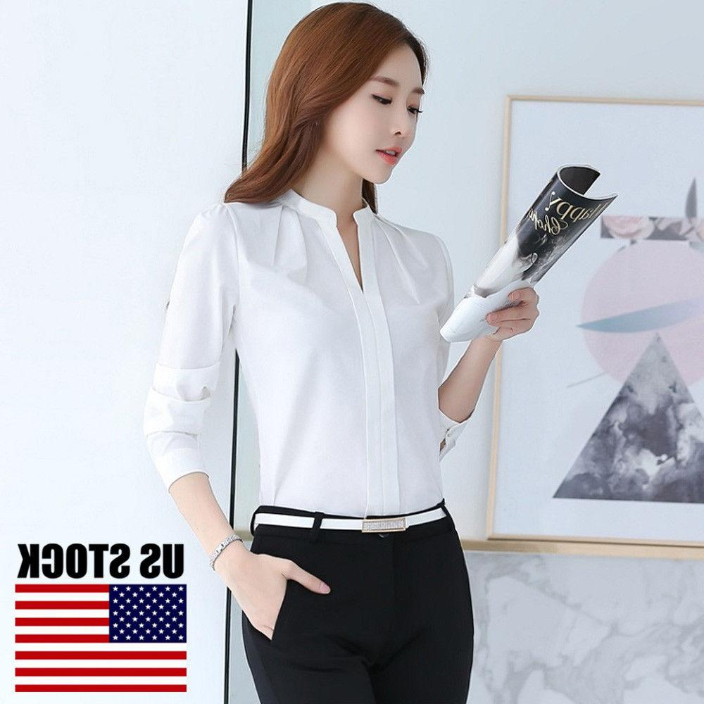 Women White Shirt Office OL Work Uniform S-XXL
