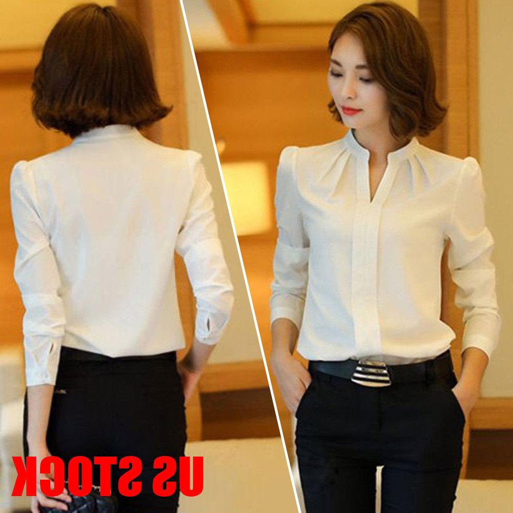 Women Fashion Formal Cotton White Shirt Office OL Work Unifo