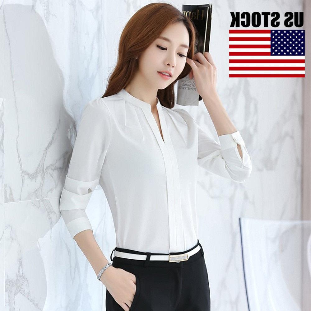 Women Fashion White Shirt Work Uniform Tops S-XXL
