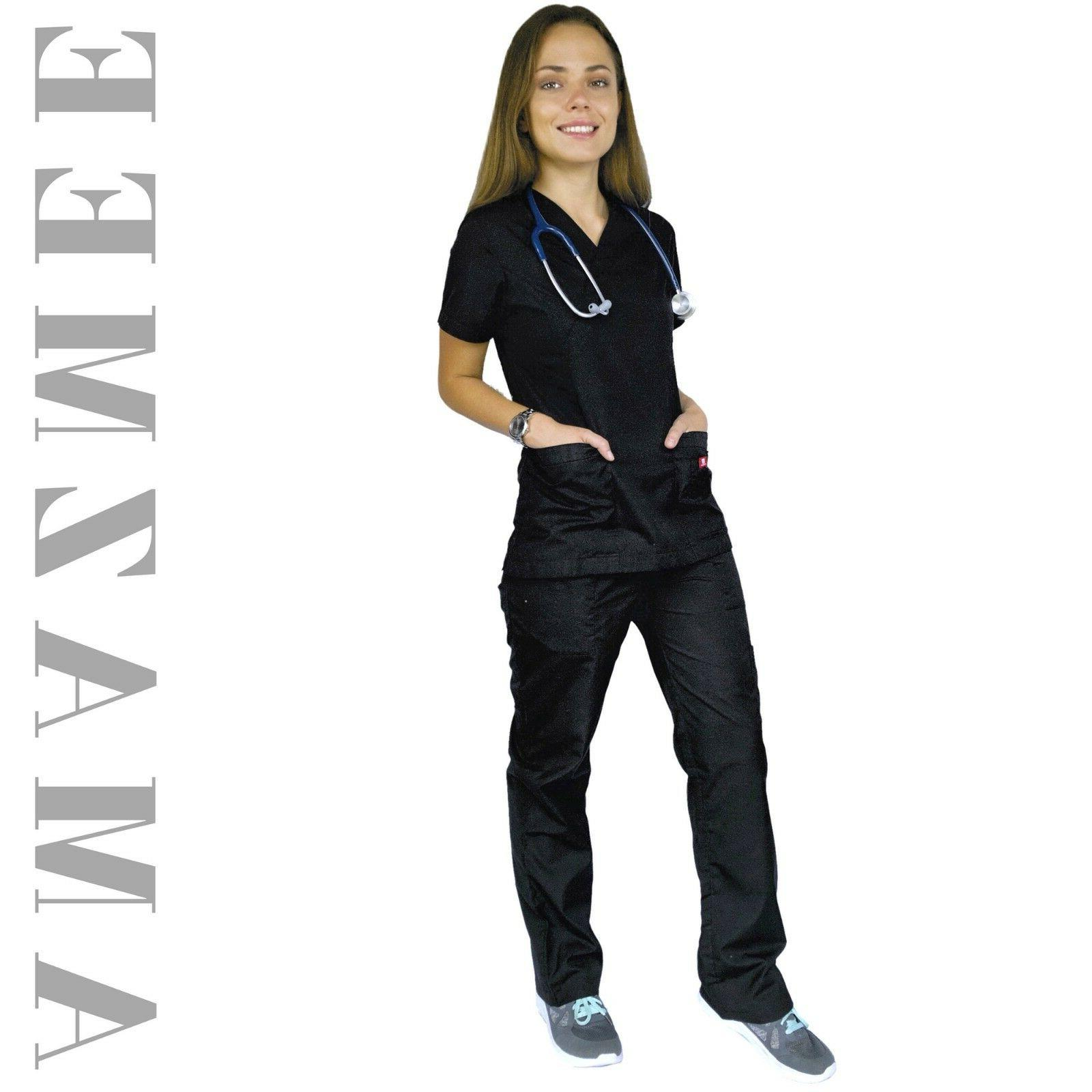 Women's Scrubs Uniform Set Wrap with Pockets