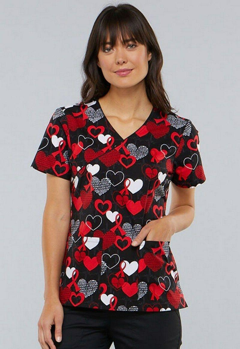 women s mock wrap heart healthy awareness