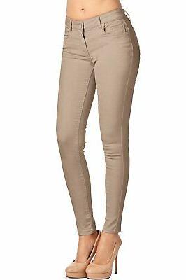 2LUV Women's 5 Pocket Skinny Pants Khaki1 9