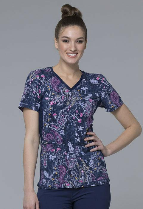 women s v neck contrast panel pasley