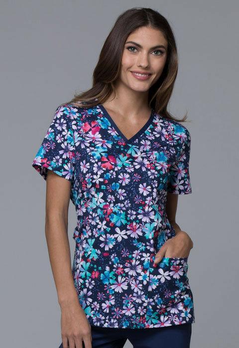 women s v neck floral print scrubs