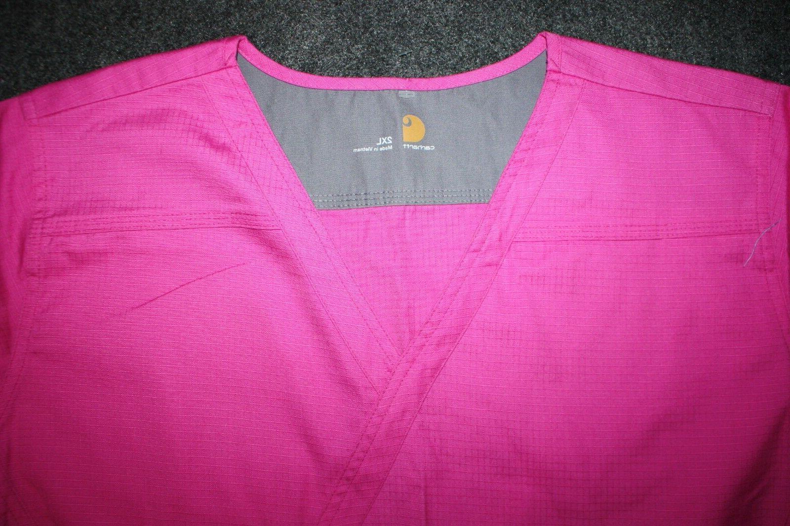 Carhartt Womens Medical Scrubs Set Pink Plus Size 2XL