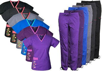 womens stretch scrubs with embroidery scrubs set