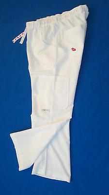 Womens white pants Cargo scrub uniform nurse  XS small Mediu