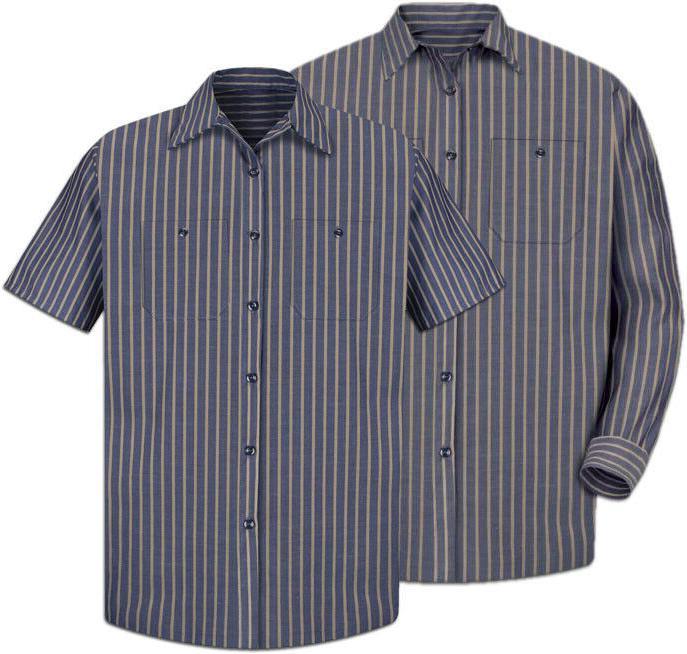 Red Work Shirt Poplin Stripe 2 Pocket Men's Industrial Uniform