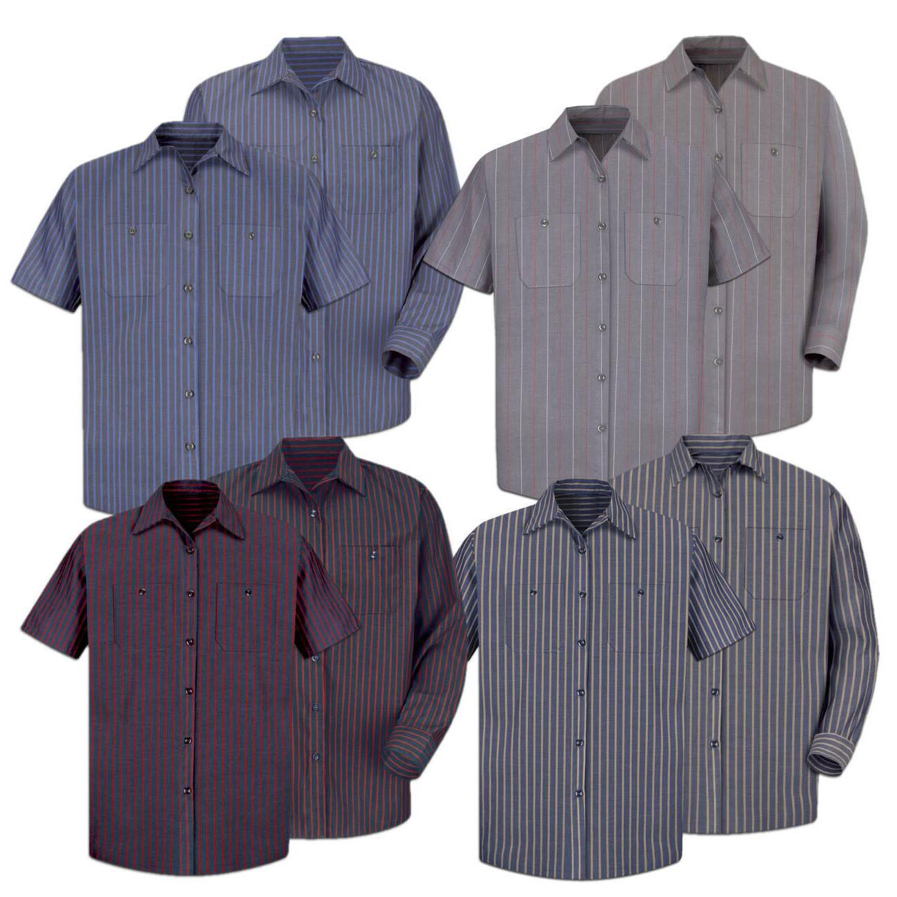 work shirt poplin stripe 2 pocket men
