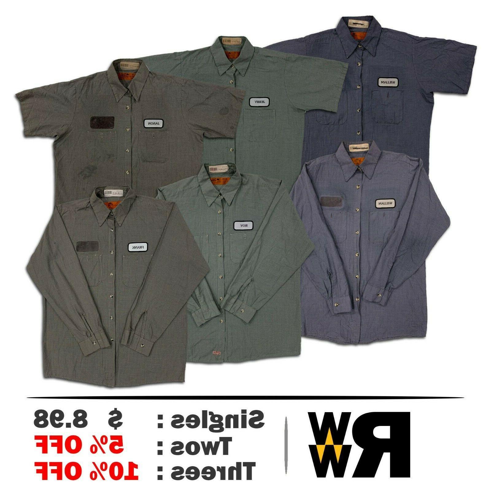 work shirts 2 pocket microcheck short