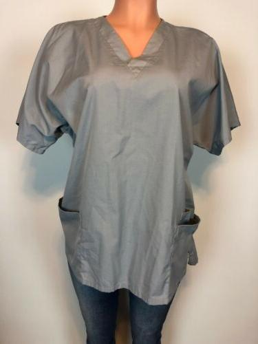 Cherokee Work Wear Authentic Scrub Gray Polyester Cotton Nur