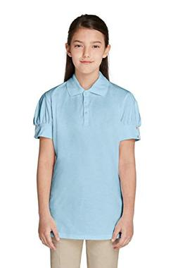 French Toast Little Girls' Puff Sleeve Double Button Polo, L