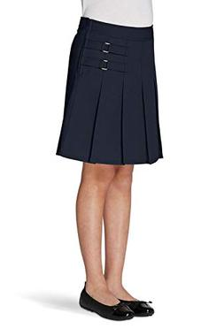 French Toast Big Girls' Two-Tab Pleated Scooter, Navy, 7