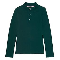 French Toast Big Girls' Long Sleeve Interlock Polo with Pico
