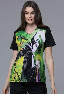 Maleficent Cherokee Scrubs Tooniforms Disney V Neck Top TF69