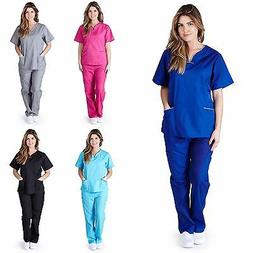 Medical Nurse Women Natural Uniforms Contrast Scallop Scrubs