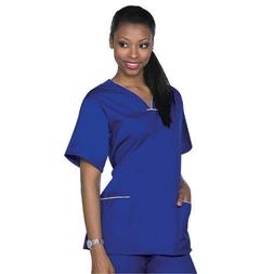 Medical Nursing NATURAL UNIFORMS Contrast SCALLOP Scrubs Set