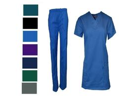Medical Nursing Men Women Solid Scrub Set Top & Pants Hospit