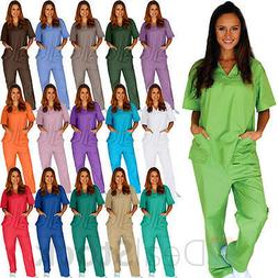 Medical Nursing Men Women Unisex Scrub Set Top Pants Hospita