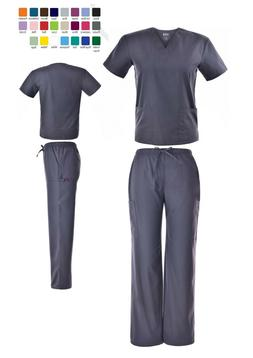 Unisex Scrub Sets Solid V-Neck Top Cargo Pant Men Women Medi