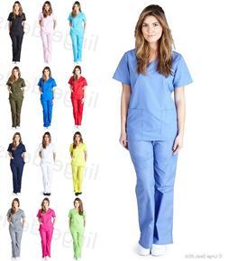 Medical Nursing Scrub Set Top/Pants Women Mock Wrap Natural