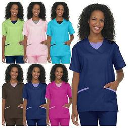 Medical Nursing Women Scrub NATURAL UNIFORMS Contrast JERSEY