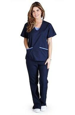 Medical Scrub Set NATURAL UNIFORMS Contrast JERSEY Full Set