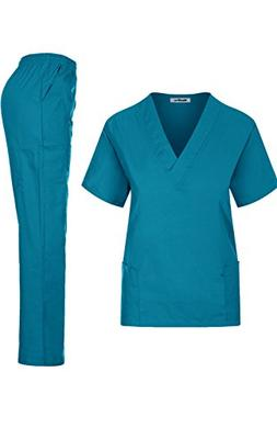 MedPro Women's Medical Scrub Set Mock Wrap and Cargo Teal XL