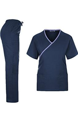 MedPro Women's Medical Scrub Set Mock Wrap and Cargo Navy L
