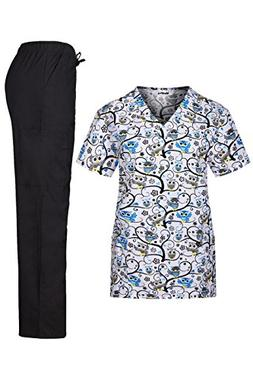 MedPro Women's Medical Scrub Set with Printed V-Neck Wrap To