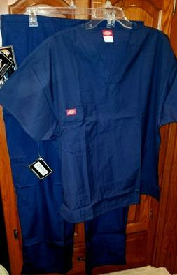 Dickies Medical Scrubs Set Navy Blue Size Large V-Neck Shirt